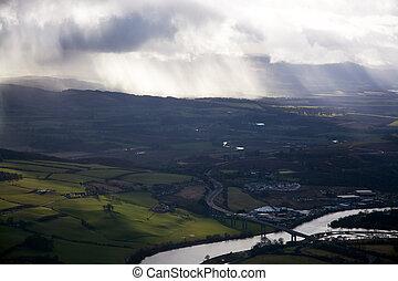 Lowlands, Scottland - Aerial photo, taken during a flight...