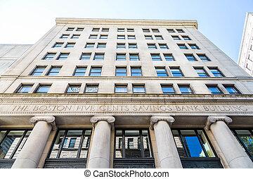 Boston, cinco, centavos, ahorros, edificio,