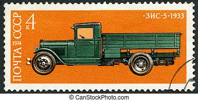 USSR - 1974: shows Zis 5 truck, 1933, Development of Russian...