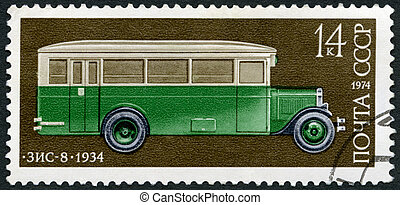USSR - 1974: shows Zis 8 bus, 1934, Development of Russian...