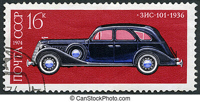 USSR - 1974: shows Zis-101 car, 1936, Development of Russian...