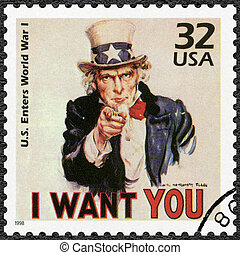 USA - 1998: shows Uncle Sam, U.S. enters World War I, series...