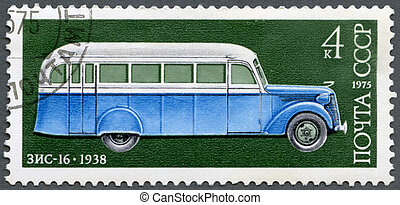 USSR - 1975: shows ZIS-16 autobus, 1938, Development of...