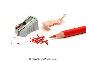 鉛筆, 被磨快, 紅色