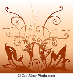 brown deco - Hand drawn floral motive