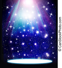 stars are falling on the background of blue luminous rays