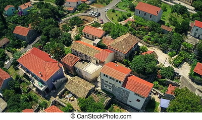Village on Peljesac peninsula, aerial - Copter aerial view...