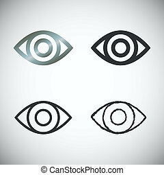 Set of Eye Icons, vector - Set of Eye Icons on light...