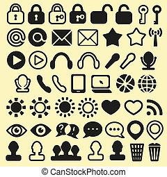 Conjunto, de, iconos, para, móvil, medios, y, tela,