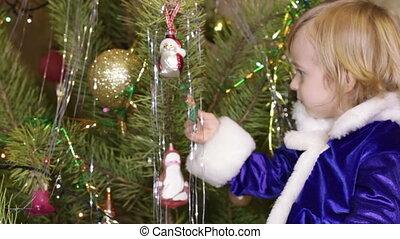 Candy Christmas tree and girl