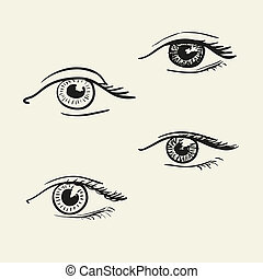 Hand-drawn eyes
