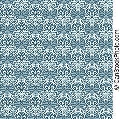 Intricate Silver and Blue Luxury Seamless Pattern on Dark...
