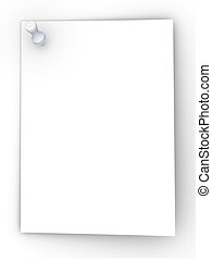 Pinned note - 3D rendered Illustration Blank pinned note...