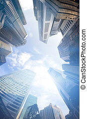 Fisheye View of Modern Buildings Business Concept