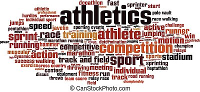 Athletics word cloud concept. Vector illustration
