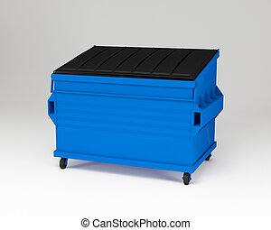 Blue trashbox - 3d render of realistic blue trash box