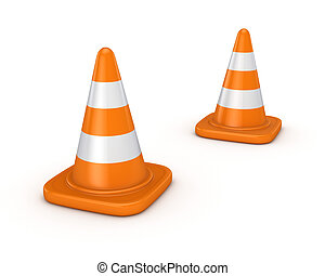 3d rendered traffic cone. - 3d rendered traffic cones...