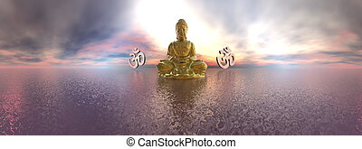Buddha and aum symbol - 3D render