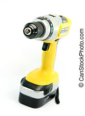 hand drill - yellow rechargeable drill isolated on white...