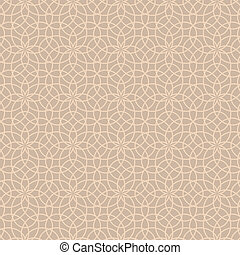 Abstract Floral Forged Beige Seamless Pattern from Line...