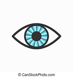 Blue Radiant Eye Icon with Dark Lining, isolated