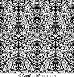 Elaborate Luxury Black Seamless Damask Floral Pattern with...