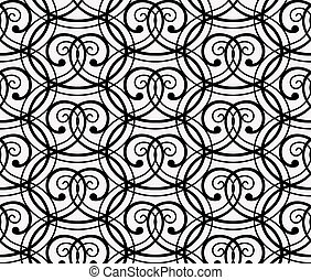 Elegant Black Curly Forged Seamless Pattern on White...