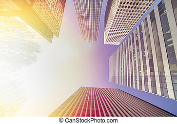 Wide Lens View of Modern Buildings Business Concept