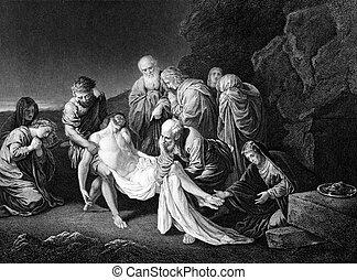 Entombment of Jesus Christ - An engraved illustration image...