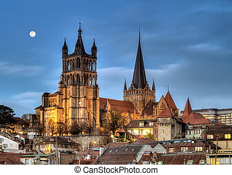 Cathedral Notre Dame of Lausanne, Switzerland, HDR -...