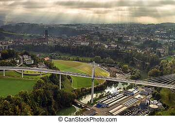 Aerial view of Fribourg, Switzerland - Aerial view of...