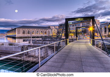 Footbridge on Seujet dam, Geneva, Switzerland, HDR -...