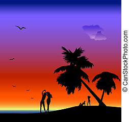 seascape with women silhouettes, palm-trees and seagulls