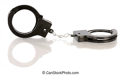 toy handcuffs with reflection on white background