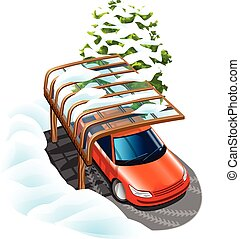 car under the canopy - canopy saves car from bad weather in...