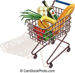 supermarket trolley - trolley on wheels Supermarket with...