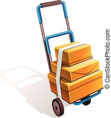 hand truck on wheels for transporting luggage