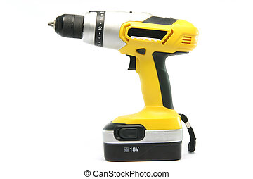 yellow drill - yellow rechargeable drill isolated on white...