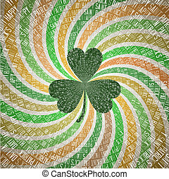 Saint Patricks Day Greeting Card with Clover Leaf on Abstract Geometric Fanning Twirl Rays Background in Vintage Shades of Green and Orange Irish Flag