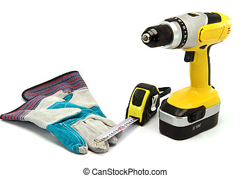 hardware tools drill gloves and meter measure isolated on...