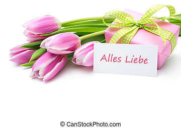 Alles Liebe zum Muttertag - Tulips with tag and german text...
