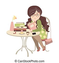 Girl reading a book - Girl having coffee and reading a book....