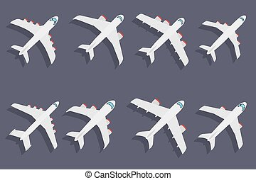 Vector set of different airplanes - Vector set of different...