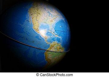 terrestrial globe in the dark
