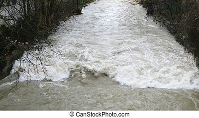 High water during snow-melt in the river Fils in Eislingen,...