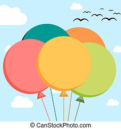 Falt illustration of 5 colorful balloons on sky background