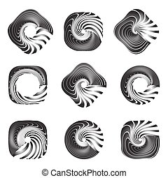 Design elements set. Twisting movement. Vector art.