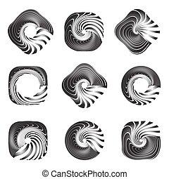 Design elements set. Twisting movement. Vector art.