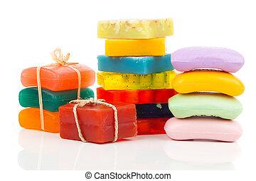 Pilha, de, Novo, coloridos, sabonetes, barras, ligado,...