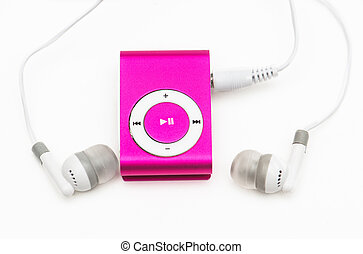 pink mp 3 player isolated on white
